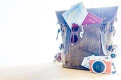 Fond d'accessoires de voyage Photo stock