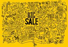 Fond d'achats de dessin de main Images libres de droits