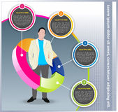 Fond d'affaires de vecteur avec le diagramme et le gestionnaire Photo stock