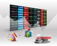 Fond d'affichage des prix de marché boursier Main recherchant des affaires Image stock