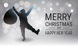 Fond d'affiche de Joyeux Noël et de bonne année avec le noir Snata Claus Holida Present Bag de silhouette Photo stock