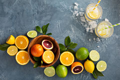 Fond d'agrumes avec des oranges, des chaux et des citrons Photo stock