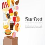 Fond d'aliments de préparation rapide avec les icônes colorées de nourriture Concept savoureux de nourriture Vecteur Photo libre de droits