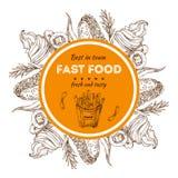 Fond d'aliments de préparation rapide Crème glacée de croquis, puces, hot-dogs Étiquette tirée par la main de vecteur illustration de vecteur