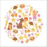 Fond d'amitié d'animaux avec les caractères d'enfants et la petite illustration d'animaux familiers illustration stock