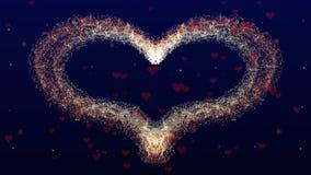 Fond d'amour avec le coeur rouge pour la Saint-Valentin Backgrop bleu profond Le foyer est sur le coeur photos libres de droits