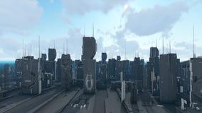 Fond d'animation de graphiques de mouvement de ville de Sci fi illustration libre de droits