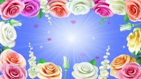 Fond d'animation de mariage avec les roses de floraison banque de vidéos