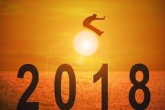 Fond 2018 d'année d'actualités Photos stock