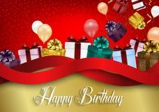 Fond d'anniversaire avec des ballons et des boîte-cadeau de couleur sur le fond rouge de bokeh illustration libre de droits