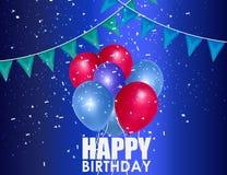 Fond d'anniversaire avec les ballons colorés Image libre de droits