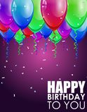 Fond d'anniversaire avec les ballons colorés Image stock