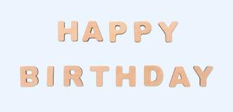 Fond d'anniversaire avec les lettres en bois Photo stock