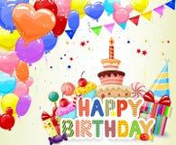 Fond d'anniversaire de bande dessinée avec le ballon et le gâteau d'anniversaire colorés illustration libre de droits