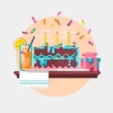 Fond d'anniversaire de vacances avec le présent et le jus de gâteau Illustration de vecteur Photo stock