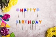 Fond d'anniversaire, vue supérieure Image modifiée la tonalité Images libres de droits