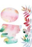 Fond d'aquarelle avec des feuilles d'automne Images libres de droits