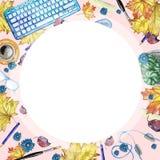 Fond d'aquarelle avec des objets pour la vue supérieure d'étude et de connaissance, avec un cadre rond au milieu de blanc, un mod Images libres de droits