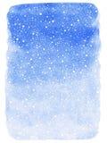Fond d'aquarelle d'hiver avec la texture en baisse d'éclaboussure de neige Photos libres de droits