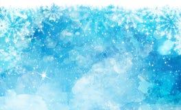 Fond d'aquarelle de Noël avec des flocons de neige et des lumières de bokeh illustration libre de droits