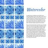 Fond d'aquarelle Frontière d'ornement dans la couleur bleue Photos stock