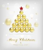 Fond d'arbre d'or de Noël de vecteur Photographie stock libre de droits