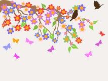 Fond d'arbre de fleur de ressort illustration libre de droits