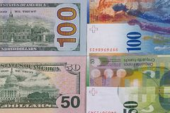 100 fond d'argent de franc suisse du dollar 50 Photo libre de droits