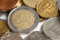 Fond d'argent de pièces de monnaie image stock