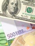 Fond d'argent des dollars et de l'euro Images stock