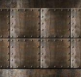 Fond d'armure en métal avec des rivets Image stock
