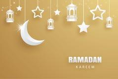 Fond d'or d'art de papier de carte de voeux de Ramadan Kareem Eid Muba Photographie stock