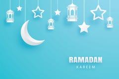 Fond d'art de papier de carte de voeux de Ramadan Kareem Eid Mubarak m Photographie stock libre de droits