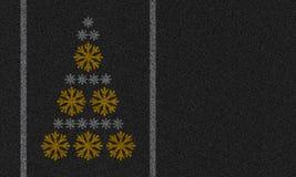 Fond d'asphalte avec des flocons de neige Images stock