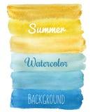 Fond d'aspiration de main d'aquarelle barré par été Image libre de droits