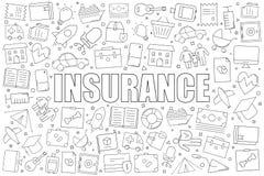 Fond d'assurance de ligne icône modèle linéaire de vecteur image libre de droits