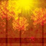 Fond d'automne avec des arbres et des feuilles en baisse illustration de vecteur