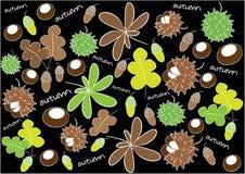 Fond d'automne avec des feuilles et des baies illustration de vecteur