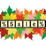Fond d'automne avec la vente de mot Conception de remises d'automne Photos libres de droits