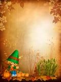 Fond d'automne avec un garçon de Toon illustration stock