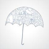 Fond d'automne parapluie d'isolement d'art illustra courant Images stock