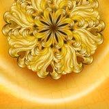 Fond d'or avec la fleur Photo libre de droits