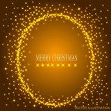 Fond d'or avec le cadre rond des étoiles Illustration de vecteur Photo stock