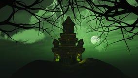 fond 3D avec le château fantasmagorique dans le paysage de hantise Images libres de droits