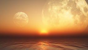 fond 3D avec les planètes et la mer illustration de vecteur