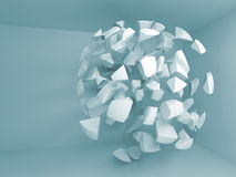 Fond 3d bleu abstrait avec des fragments de grande sphère Image stock