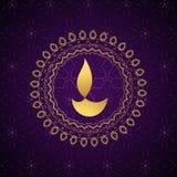 Fond d'or décoratif de vecteur de diya de diwali Photos stock