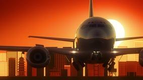 Fond d'or d'horizon d'Osaka Japan Airplane Take Off illustration stock