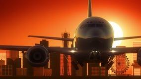 Fond d'or d'horizon de Kobe Japan Airplane Take Off illustration stock