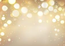 Fond d'or de Bokeh avec les lumières de scintillement illustration stock